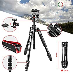 Manfrotto MKBFRTA4BK-BH Befree Advanced Trépied de Voyage - Fermeture Twist MLock - Rotule Ball pour Canon, Nikon, Sony, Réflex, Compact, Hybride - Charge Max 8kg - Sac inclus - Aluminium - Noir
