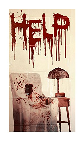 Preisvergleich Produktbild Halloween Horror Psycho House Hütte der Verdammnis Wand Deko Folie Schlachtraum höllisches Gemetzel im Ohrensessel Blut Schrift Hilfe an der Wand