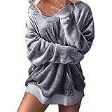 ESAILQ Damen Mit Kapuze Weichem SAMT Pullover Kapuzenpullover Sweatshirt Oversize Mantel Jacke(Large,Grau)