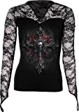 Spiral - Women - VAMP FANGS - Lace Neck Goth Top Black