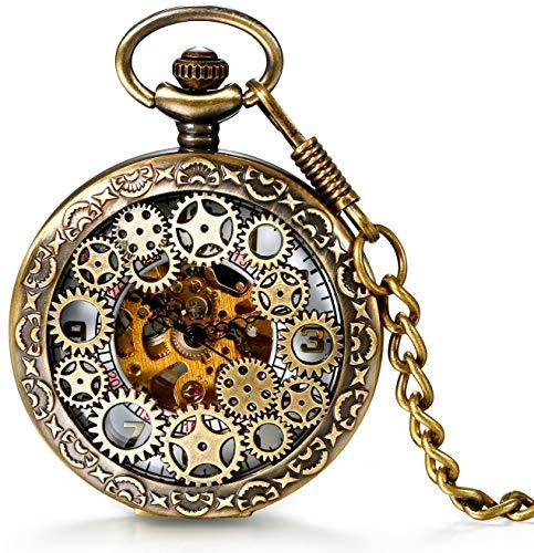 Steampunk Kostüm Einfach - Damen Herren Steampunk Automatik mechanische Taschenuhr Bronze, LANCARDO Retro Zahnrad Ritzel Mechanische Kettenuhr Skelett Uhr mit Halskette Kette