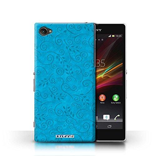 Kobalt® Imprimé Etui / Coque pour Sony Xperia Z1 Compact / Rose conception / Série Motif Feuille Remous Turquoise