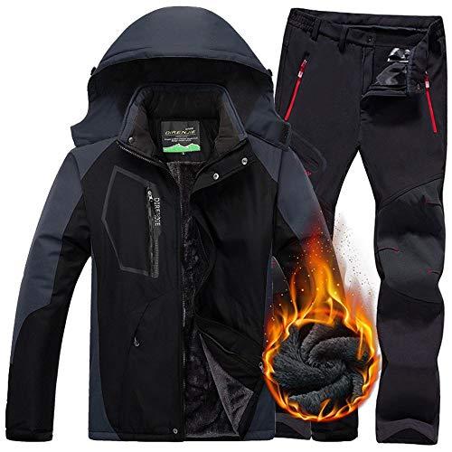 QZHE Skianzug Männer Winter Wasserdichte Jacke Hosen Trekking Wandern Camping Ski Snowboard Jacken Outdoor Thermal Skianzüge Für Männer, L