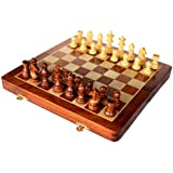 "StonKraft 14"" x 14"" Collectible Wooden Folding Chess Game Board Set+Wooden Magnetic Crafted Pieces"