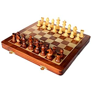 Set di scacchi fatto a mano con legno pregiato , misure ,26 x 26 cm - Set magnetico e pieghevole realizzato in legno di palissandro con scomparto porta pezzi