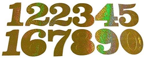 b2see Sticker Zahlen Glitzer Aufkleber groß Glitzer-Klebe-Zahlen selbstklebend groß Sticker Zahlen zum auf-kleben (Gold) (Großer Zahlen Aufkleber,)