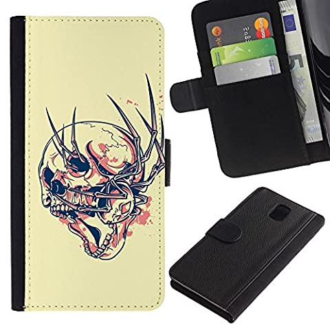 Flip Leather Wallet Case Cowskin Card Holder Pouch for Samsung Galaxy Note 3 III N9000 N9002 N9005 / Business Style Goth Evil Abstract Spyder