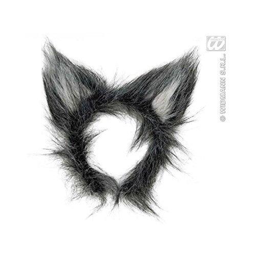 Wolfsohren auf Haarreif / Wolfskostümzubehör / Wolfkostüm / Ohren Wolf (Rotkäppchen Wolf Kostüm)