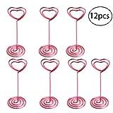 bestonzon Herz Form Foto Halter Tischnummernhalter steht Tischkarte Papier Menu Clips 12(Rosa)