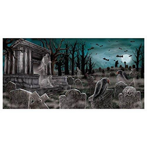 rabsteine - 165 x 84 cm - Banner Geister Gräber Szenenbild Totenacker Scene Setter Graveyard Kulisse Horrorparty Wandbild Friedhof (Scene Setter Halloween)