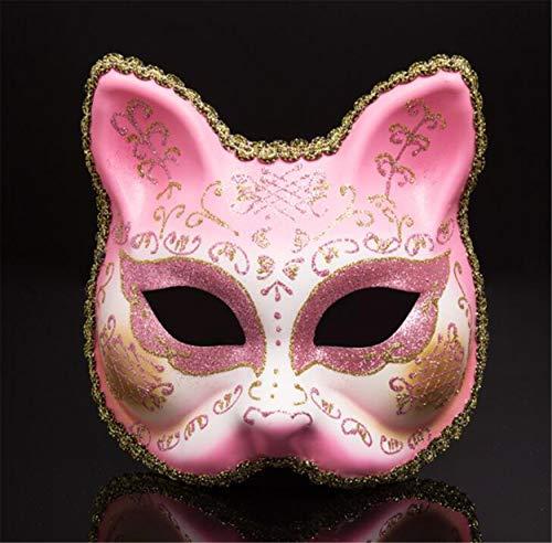 LPP Halloween Maske, Kreative Maskerade Goldpulver Einfarbig Halbes Gesicht, Katzengesicht Erwachsene Party Party Cartoon Tier Bemalte Wangenschleier Pink (Bemalte Gesichter Für Halloween)