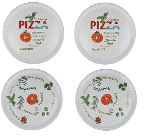 Retsch Arzberg Pizzateller \'Pomodoro & Spezia\' Ø 30cm, Porzellan, weiß, 4-teilig (1 Set)