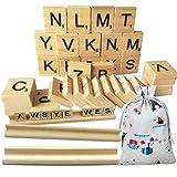 Scrabble Holz Fliesen, Meiso 300Scrabble Fliesen und Holz Buchstabe Racks Neue Scrabble Buchstaben Holz teilig 3komplette Sets–Ideal für bastelarbeite, Anhänger, Buchstabieren