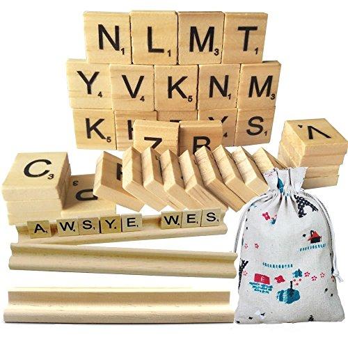 Legno Scrabble piastrelle, Meiso scarabeo e 300in legno lettera rastrelliere New Scrabble lettere in legno pezzi 3set completi-Great for Crafts, Pendants, spelling