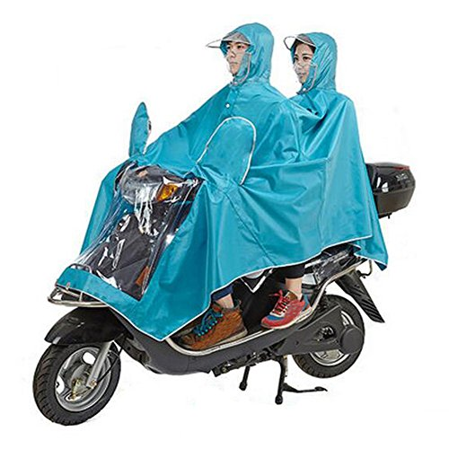 Haodasi Mask Type Double Poncho Hooded Imperméable Motocyclette Scooter Rainwear blue