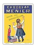 Pacifica Island Art Chocolat Menier - Éviter Les Contrefaçons - Compagnie de Chocolat français - Affiche publicitaire de Firmin Bouisset c.1893 - Master Art Print 23 x 31 cm...