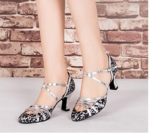 Minitoo , Chaussures de danse pour homme Floral Black-6cm Heel