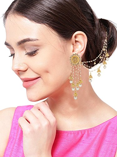 Aadita Fashion Jewellery Golden White Gold-Plated Jhumki Earrings With Hair Chain For Women