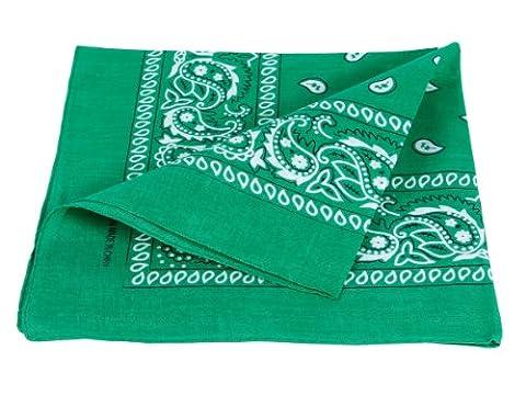 Bandana disponible en différentes couleurs de très haute qualité 100% coton, environ 54 x 54 cm Paisley,:vert