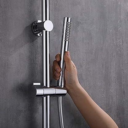 HOMELODY Gran Conjunto de Ducha Redondo Latón y Acero Inoxidable Resistente a Corrosión Columna de Ducha Circular Chorro Suave