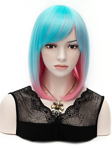 Perruque & xzl Perruques Fashion de longueur moyenne synthétique mélange de cheveux populaire couleurs bleu et rose femmes perruque