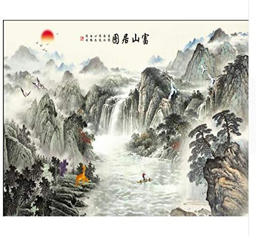 Pmrioe Startseite Dekorative Wandbild Chinesische Landschaftsmalerei Tv Wall Hintergrund Wall 3D Wallpaper, 250X175 Cm (98.4 By 68.9 In)