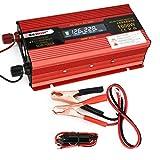Inversor de alimentación, convertidores de coches DC12V 50Hz 1000W de potencia del convertidor del adaptador de Red transformador con pantalla de visualización y puerto USB Sistema de ventilador de refrigeración