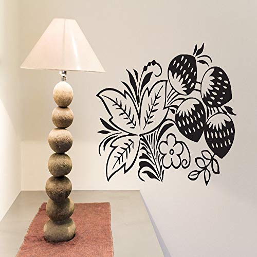Fiori Branch Wall Sticker Decalcomania del vinile Strawberry Leaves Bloom Bacche Impermeabile Home Decor Murale Baby Room Stickers murali ~ 1 100 * 100 cm