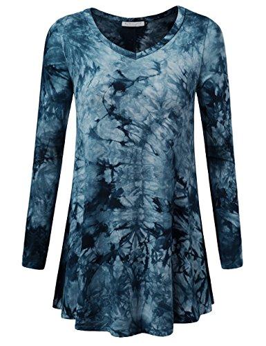 BaiShengGT Damen Langarmshirt A-Linie Hem Tunika Stretch Oberteil Longshirts Tie Dye Blau L (Herz Tie-dye-t-shirts)