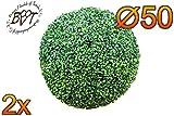 2x PREMIUM Buchs, Echtbaum-Optik, große Buchskugel Buxbaum Ø 50 cm 500 mm grün dunkelgrün, robust und wetterfest, fertig montiert, auf Wunsch mit Solarbeleuchtung SOLAR LICHT BELEUCHTUNG (Zubehör) , ohne Terracotta Topf Plastik und stabilem Fuß (Zement) Kunstpflanzen stabile Dekobäumchen künstliche Bäume Bäumchen Kugel Buxbaumkugel + Solarlicht LED Lampe 2 Lampen Lichterbaum Kunstblume Außen- und Innendekoration Balkonsichtschutz Balkon Pflanzen Sichtschutz