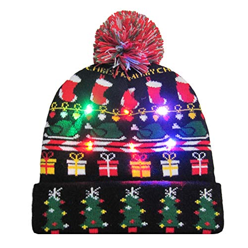 Hut Kapuze für Weihnachten Malloom, LED Light up gestrickter hässlicher Pullover Holiday Xmas Christmas Beanie