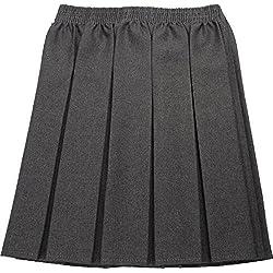 Uniform - Falda de uniforme escolar para niña, diseño plisado, elástica gris gris 17-18 Años