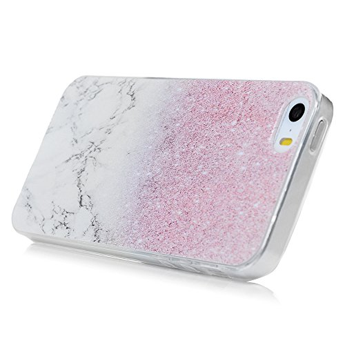 iPhone 5/5S Hülle Kasos iPhone SE Case Painted TPU Silikon Handyhülle Crystal Clear Schutzhülle Tasche Back Cover Handy Schale mit Bike Tower Design Marble Lines