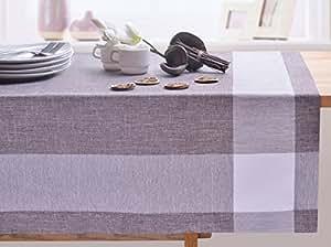 140x240 braun kariert Tischdecke Tischtuch elegant praktisch pflegeleicht Leinoptik Lein Optik mit Borte Modern Lein