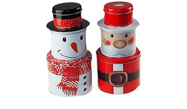 Set di 3 scatole di Latta per Alimenti impilabili BWG a Chiusura ermetica con Pupazzo di Neve e Babbo Natale