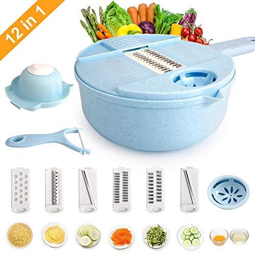 Gälacie rebanador de Verduras de Mano 12 en 1,Picadora de Verduras Manual Máquina Multifuncional...