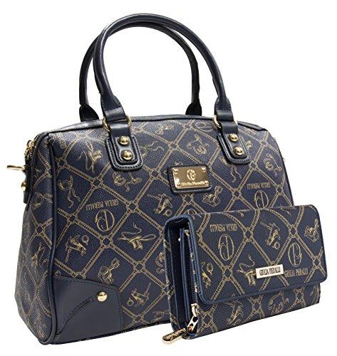 Giulia Pieralli Damentaschen + Geldbörse als SET Handtaschen Damen Handtasche Geldbörse Tasche Henkeltasche Markentasche Blau 2622B + G001 - Tasche Geldbörse Handtasche