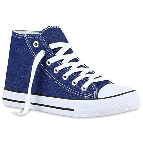 Sportliche Damen Sneakers |Stoffschuhe Camouflage Schnürer | Sneaker High Neon | Sportschuhe Denim Blau