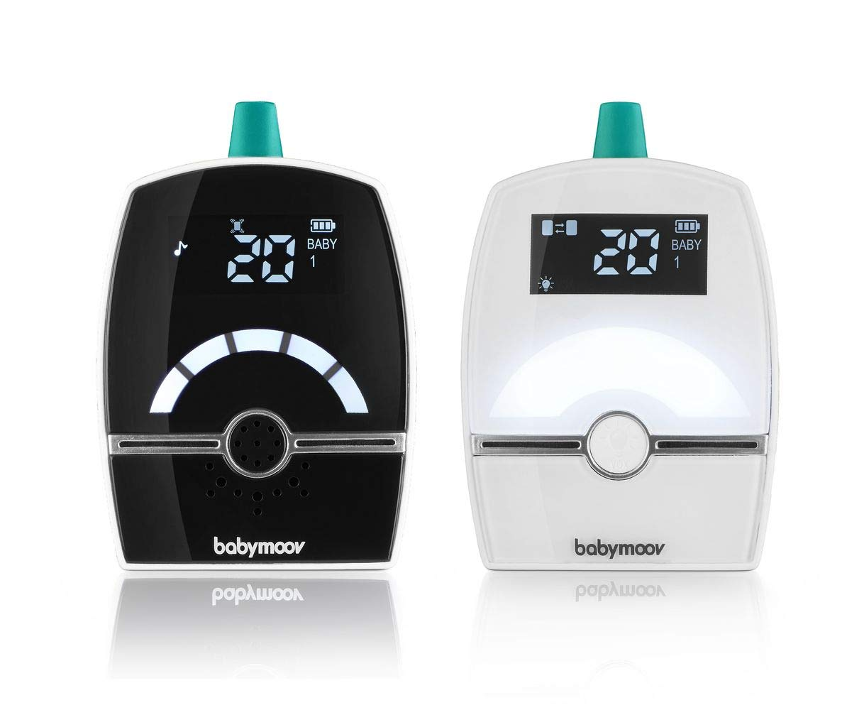 BABYMOOV Premium Care Audio Baby Monitor, 1400 m BABYMOOV Digital green technology: this innovation reduces wave emissions from your baby monitor and guarantees the longest range on the market. premium care has a 1400m range: ideal for a house Complete: this baby monitor has a 3-alert vex mode (visual, audio, or vibration) and an out-of-range/ low battery alarm. you can connect two transmitters to monitor two children! Night light, lullabies, and temperature: premium care emits a soft light and plays lullabies. the temperature indicator enables you to monitor the temperature in the baby's room 1
