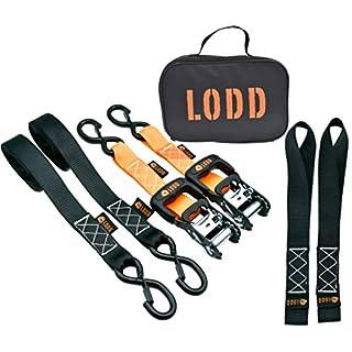 LODD - Ratschenspanngurt - Spanngurt mit Ratsche - 2 Stück Zurrgurt Kit 38mm x 3.4M + 2 Doppelschlaufen Zurrschlaufen + Tragetasche (für Motorrad, ATV, UTV, Schneemobil)