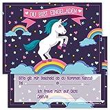12 Lustige Einladungskarten Set Kindergeburtstag Einhorn Regenbogen Wolke Sterne Herz Party Karten Rosa Pink witzig Einladung Geburtstag Party