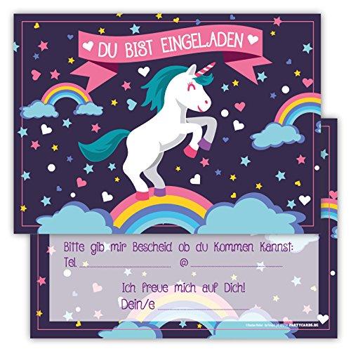 12 Lustige Einladungskarten im Set für Kindergeburtstag Einhorn Regenbogen Wolke Sterne Herz Party für Mädchen Jungen Kinder Partyspiele Karten Rosa Pink witzig Einladung Geburtstag (Prinzessin Für Baby Kostüm Märchen)