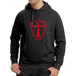 lepni.me Sudadera con Capucha Caballeros Templarios - Escudo de los Templarios (Small Negro Rojo)