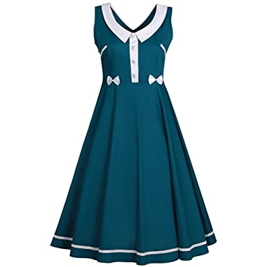 MILEEO Damen 40s 50s 60s Vintage Kleider Elegantes Knielanges Retro Kleid  Skater Ärmellos Abendkleider Cocktail Party Kleid Rockabilly: Amazon.de: ...