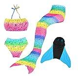 Superstar88 Mädchen Cosplay Kostüm Badebekleidung Meerjungfrau Shell Badeanzug 3pcs Bikini Sets Tolle Geschenksidee ! (120, Splendid Rainbow)