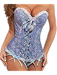 Autek Sexy Ladies Women's Floral Trim Fashion Bustier Overbust Corset with G-String #819
