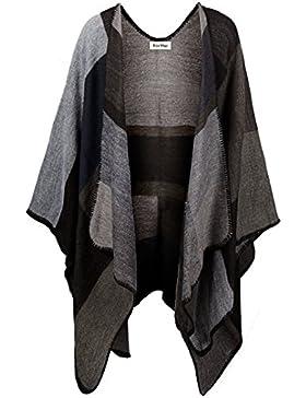 kormei Mujer Elegante Plaid cuadros de punto invierno bufandas Tartán Capa Poncho mantón Cabo