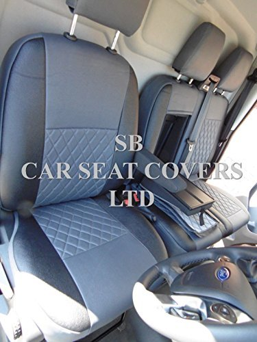 RHD Ford Transit Custom Furgone coprisedili-grigio + nero in similpelle, su (Grigio Su Misura Seat Covers)