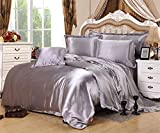 Generic Luxury Satin Silk Quilt Duvet Cover Set Bedding Sets Include 1 Duvet Cover 1 Flat Sheet 2 Pillowcases (Queen, Grey)