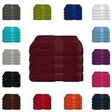 4 tlg. Handtuch-Set in vielen Farben - 4 Handtücher 50x100 cm - Farbe bordeaux